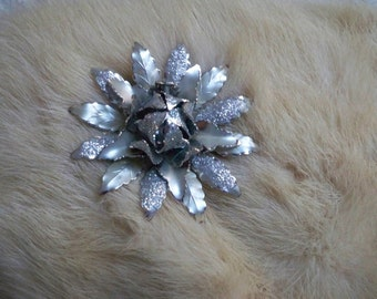 Vintage Jewelry Brooch Coro Signed Silver Sparkle Floral Pin Collectible Jewelry
