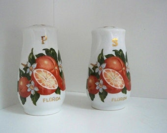 Vintage Collectible Kitchen Souvenir Florida Orange Salt & Pepper Shakers
