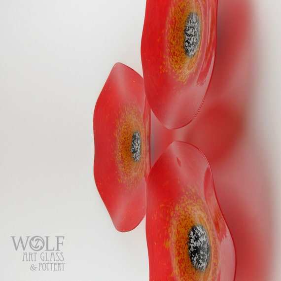 MADE TO ORDER Blown Glass Wall Art Bright Red Poppy Flower Decorative Wall Hanging