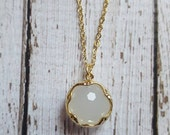 ON SALE Beautiful White and Gold Plated Faceted Gemstone Pendant Necklace