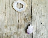 Geode amethyst lariat necklace silver chain wire wrapped boho
