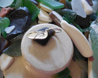 flip flop and dark green sea glass pendant