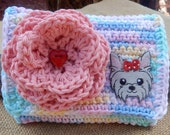 Crocheted Purse  ~  Pastel and Pink with Gray Puppy Crocheted Cotton Little Bit Purse  ~  Bubble Gum Style Crocheted Purse