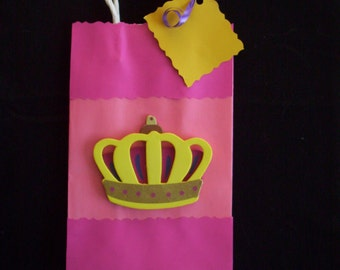 queen favor bags, princess favor bags, girls birthday party bags