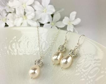 Ivory Pearl Bridal Jewelry Set Teardrop Pearl Ivory Pearl Bridal Jewelry Sparkly Accents Rachel
