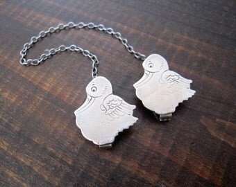 Sterling Silver Stork Baby Bib Clips by Webster Sterling, Duck or Stork Sweater Clips, Sweater Guard