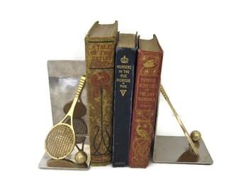 Vintage Brass Tennis Racket Bookends, Tennis Racquet and Tennis Ball Book Ends