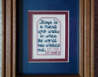 Jesus is a Friend - Dark Blue and Mauve - Inspirational Cross Stitch Picture - Wall Decor