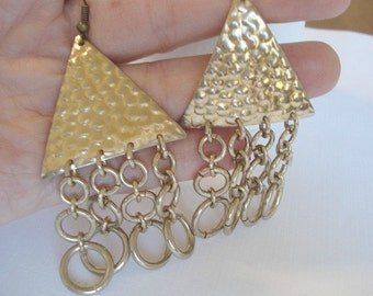 Gold Triangle Earrings Pyramid Earrings Vintage Earrings Geometric Earrings Egyptian Earrings Gold Hammered Triangle Dangle Earrings