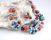 Reserved for Taft80 - Ceramic Bracelet, Double Strand Bracelet, One of a Kind Blue Bracelet, Jewelry Gift, Bracelet Gift