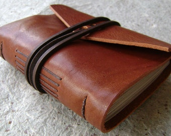 "Small Leather Journal, 3.5""x 4.5"", rustic brown, handmade journal by Dancing Grey(1551)"