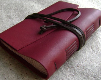 "Leather journal, approx. 4""x 6"", rustic country red journal (2023)"