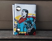 DC Comics Superman 3 Fold Chain Wallet Upcycled