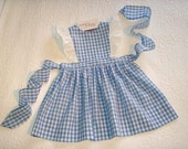 Ready to Ship Size 2T Pinafore Jumper Dress in Blue Gingham with eyelet flutter sleeves.
