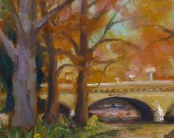 San Antonio River Walk Bridge Texas Framed Landscape Impressionism Original Art 9x12 Oil Painting Sallows