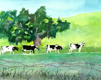 Farm, Landscape, Farm animals, Cows, Art, Print, Wall Art, Print, Cow Painting, Cow herd, Watercolor, Holstein cow print, Green print