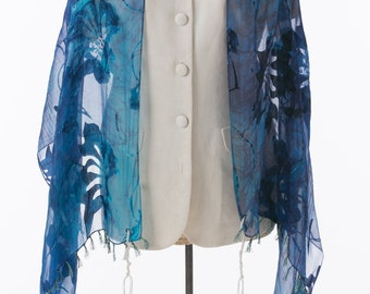 Sheer Blues and Teal Silk Tallit
