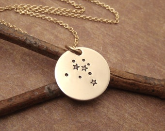 Small Gold Constellation necklace - Zodiac charm necklace - Star sign - Small custom constellation jewelry - Photo NOT actual size