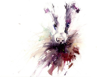 LIMITED edition print of  BADGER wall art, home decor, nursery art, wildlife animal art.  hand signed, illustration, animal art