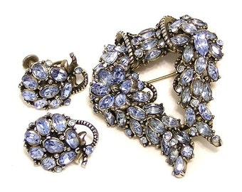 Hollycraft 1953 Blue Brooch and Earring Set