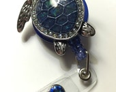 Blue Sea Turtle badge holder