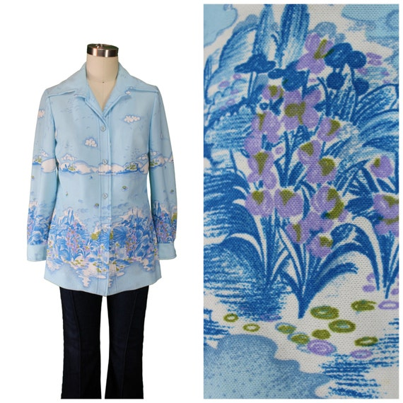 Saint Laurent Style Shirt / 70s Pale Blue Blouse / YSL Style Printed Top / 1970s Printed Floral Shirt / Groovy 70s Shirt / Oversized 70s Top