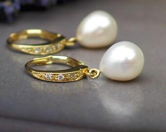 Teardrop Pearl Earrings | White Freshwater Pearls l CZ Gold Vermeil Hoops | Allure Gold | June Birthstone | Bridal Jewelry | Ready to Ship