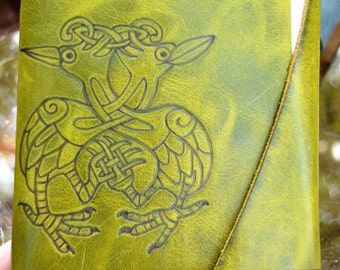 Celtic Handmade Leather Journal with Bird Design Free Personalization