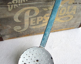 Vintage Chippy Enamel Slotted Spoon Ladle Strainer French Farmhouse Decor