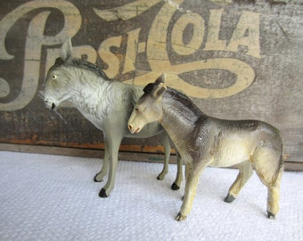 Vintage Nativity Donkey Pair Italy Germany