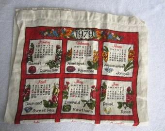 Vintage 1979 Calendar Tea Towel