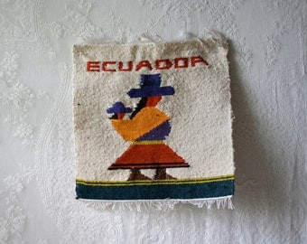 Vintage Ecuadorian Hand Woven Textile Wall Hanging Colorful Wool Woman With Child Weaving SALE