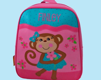 Personalized Stephen Joseph GoGo Backpack GIRL MONKEY Themed Bag In Teal and Hot Pink-Monogramming Included