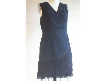DESIGNER label Wayne Cooper little black dress with fringing at bottom cowboy cowgirl style