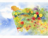 April. Fine art print of original watercolor, blue, orange, green, red, wall decor.