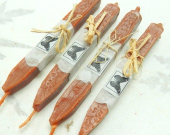 Natural Sealing  Wax  4 sticks SIENNA seal wax for stamps with wick Traditional mold,  plastic - free, non toxic