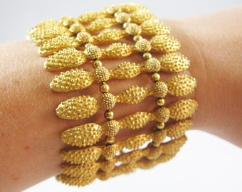 Swanky Vintage Textured Gold Bracelet
