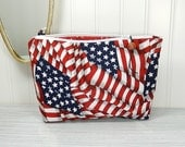 Makeup bag - red white blue zipper pouch - patriotic - cosmetics pouch - American flag bag - US flag makeup bag - 4th of July