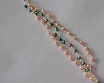 Beachside Pearl Bracelet~Anklet~Brown Cream Grey~Neutral~Crochet~Magnetic Clasp