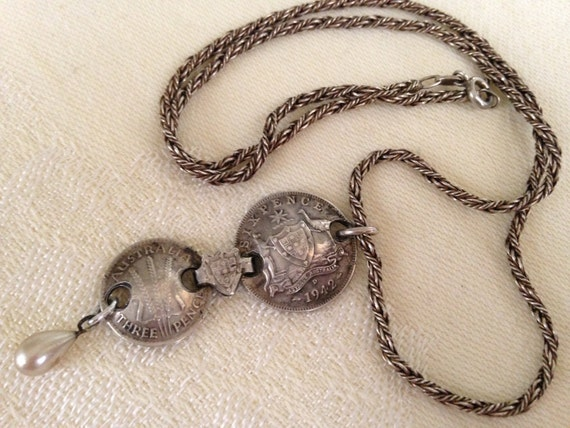 Vintage 1940s Sterling Silver WW11 1942 Coin Pendant Necklace Unique Orig Design