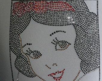 Snow White iron on rhinestone TRANSFER for disney t shirt or costume