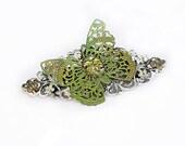 Butterfly French Barrette Patina Filigree Vintage Czech Peridot Glass Opal Swarovski Crystals Victorian Shabby Chic Mori Girl Green Gold