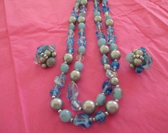 vintage costume jewelry  / CLEARING OUT SALE  ,beaded necklace and earrings