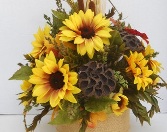 Rustic Silk Sunflower Floral Centerpiece, Flower Arrangement