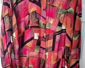 SALE rayon geometric shirt blouse 80s avant garde Jeri Marque 38 large 1980s art