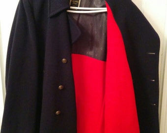 Navy Christian Dior peacoat men's 1960s mod wool red lining large boho normcore double breasted