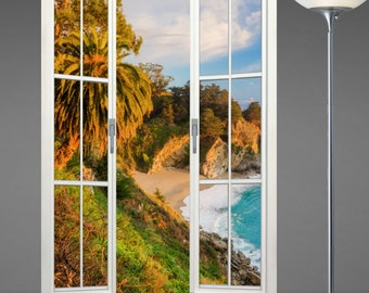 Wall mural french door, self adhesive, Big Sur-Julia Pfeiffer Burns State Park 48x72- free US shipping