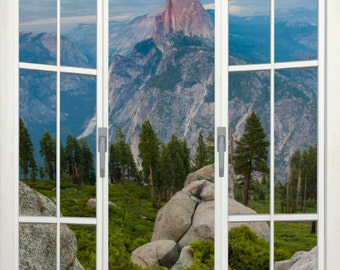 Wall mural french door, self adhesive, view of Half Dome from Glacier Point, Yosemite, CA- 48x72- free US shipping