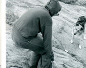 Well Come On Hiker on Rocks Calling Stray Dog 1960s Vintage Black and White Photo Photograph