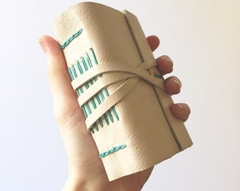 Cream and Aqua Leather Journal -Cloud- Personalized Leatherbound Sketchbook Off-White Journal Travel Diary Gifts for Her Him Gifts Under 50